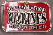 Military Belt Buckle metal U. S. Marines in color NEW