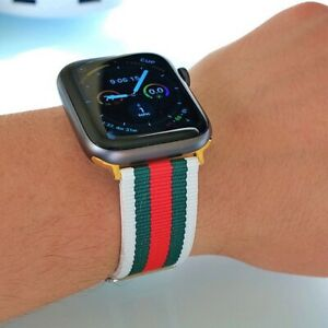 New-Designer-Apple-watch-band-GG-iwatch-strap-for-series-1-2-3-4-White-Green-Red
