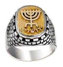 New Sterling Silver 14K Gold Western Wall Jerusalem Inscription Menorah Men Ring
