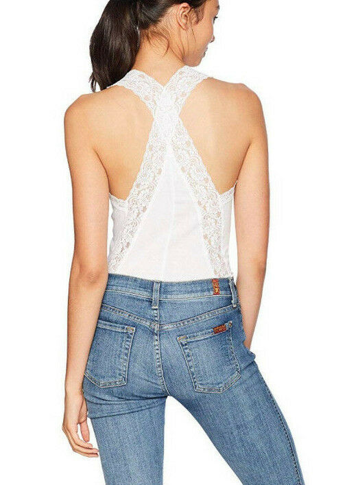 Free People OB831103 Naughty But Nice Lace-Trim Cheeky Bodysuit in White Size XS