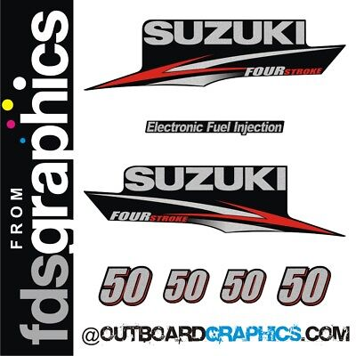 Suzuki DF50 four stroke outboard engine decals//sticker kit