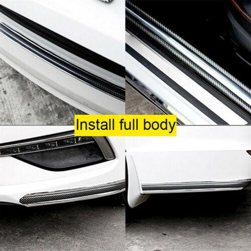 Car Door Sill Protector Carbon Fiber Silver Bumper Guard Strip Trim 1m*5cm Roll