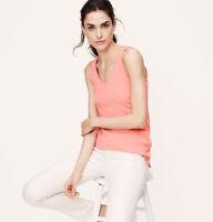 NWT Ann Taylor Loft Bright Peach Blossom Sunwashed Hand-dyed Scoop Tank Shirt M