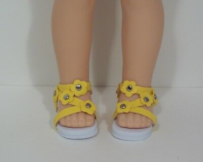 """YELLOW Strappy Sandals Doll Shoes For 14/"""" American Girl Wellie Wishers Debs"""