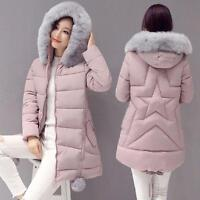 Winter Womens Big Fur Collar Hooded Coat Down Parka Long Warm Thick Jacket Parka