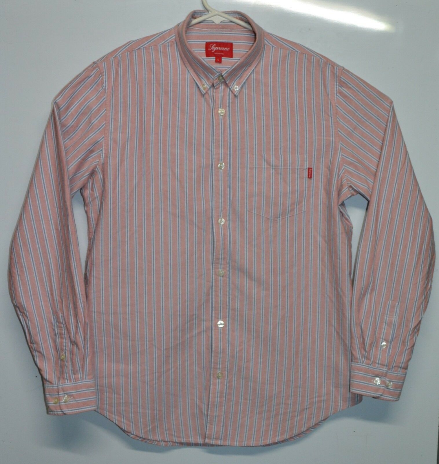 Supreme Faded Stripe Button Up Box Logo Oxford Shirt Size Large