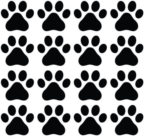 "3/""w x 2.75/""h Pawprint Glossy Vinyl Decal ©YYDC PATT:GLS Dog Paw Prints"