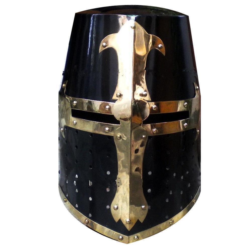 Mittelalter Kreuzritter Helm Templer Ritter Helm Schwarz Finish ...