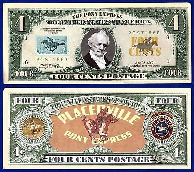 1-Pony Express Mail 4 cent Postage  Dollar Bill W// clear protector sleeve W2