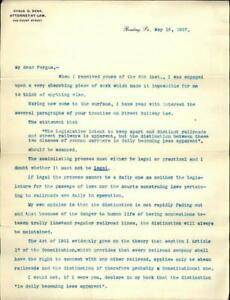 1907 Reading Pennsylvania (PA) Letter Cyrus G. Derr Fergus
