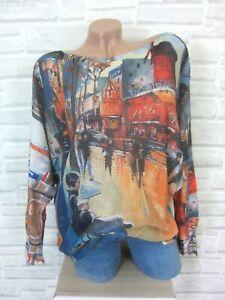 ITALY-Strick-Shirt-Pulli-Pullover-mit-Schoenem-Print-38-40-42-Neu-E818