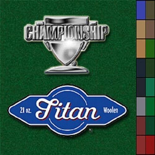 Championship Titan 9' Pool Table Felt Cloth Choose Your color