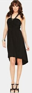 Embellished Dress Black Jersey Sleeveless Halterneck Ruched 18 south Very ZwzCqHf