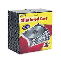 Fellowes Slim Jewel Case Clear/black 100/pack 98335 on sale