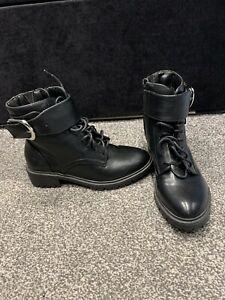 Black Chunky Vegan Boots Zip
