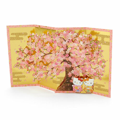 Hello Kitty Cherry Blossom w// Gold Folding Screen Multipurpose Greeting Card