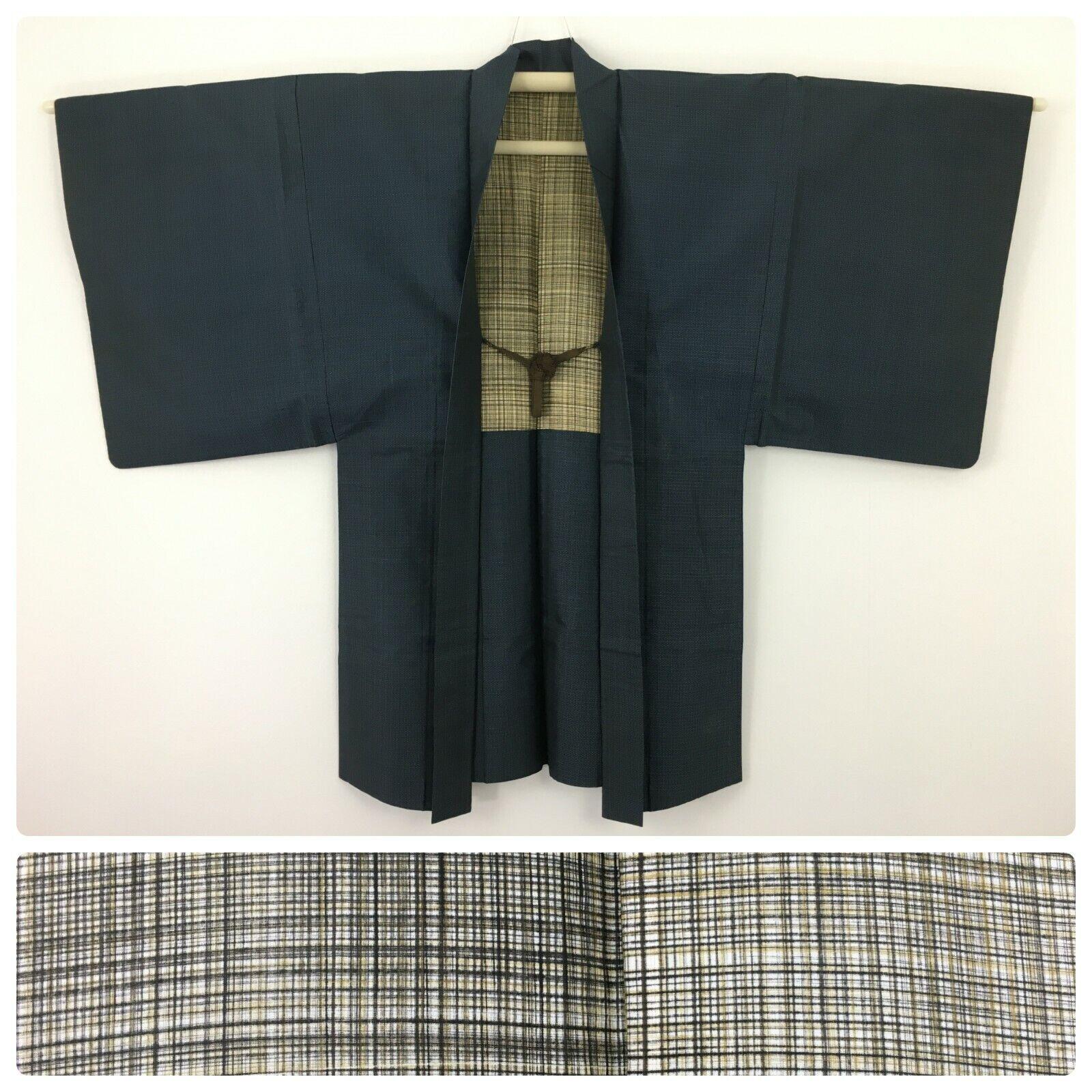 Japanese men's haori jacket for kimono, blue, with himo, Medium-Large (K3026)