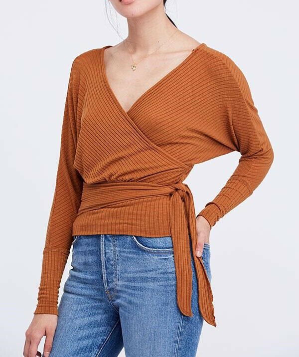 Free People Womens East Coast OB846782 Top Wrap Mgoldccan Spice Brown Size XS
