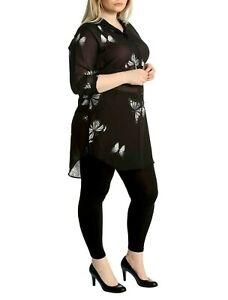WOMENS LADIES PLUS SIZE BLACK CHIFFON BUTTERFLY TOP BLOUSE COLD SHOULDER 14-28