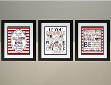 Red and Navy Stripes Bathroom Rules Set Wall Art Print JPEG poster 8x10
