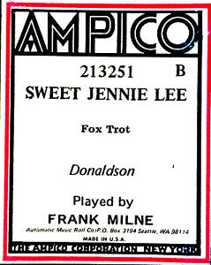 AMPICO-ReCut-Donaldson-SWEET-JENNIE-LEE-Frank-Milne-213251-B-Player-Piano-Roll
