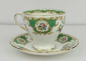 Vintage EB Foley Green Broadway Pattern Bone China Tea Cup & Saucer England