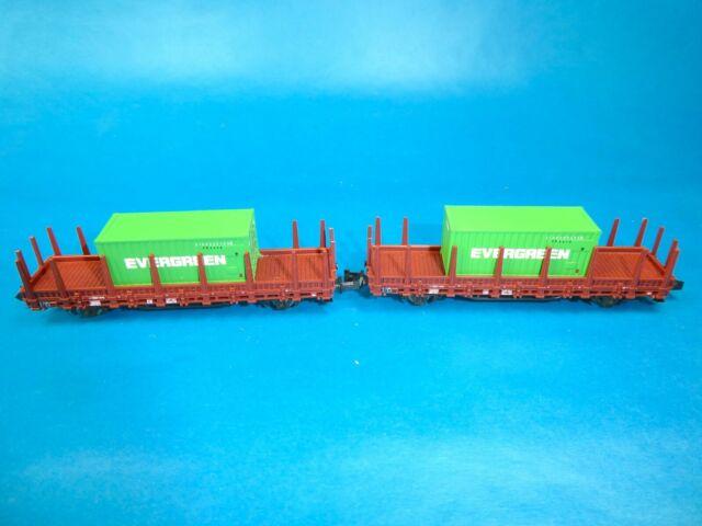"""*ROCO N 25675 2x DB Rungenwagen """"437 261"""" mit """"Evergreen"""" Containern Ep.III"""