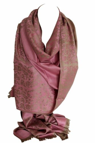 Gorgeous Self Embossed Two Sided Print Pashmina Feel Wrap Scarf Stole Shawl