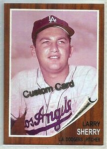LARRY SHERRY LOS ANGELES DODGERS 1962 STYLE CUSTOM MADE BASEBALL CARD BLANK BACK