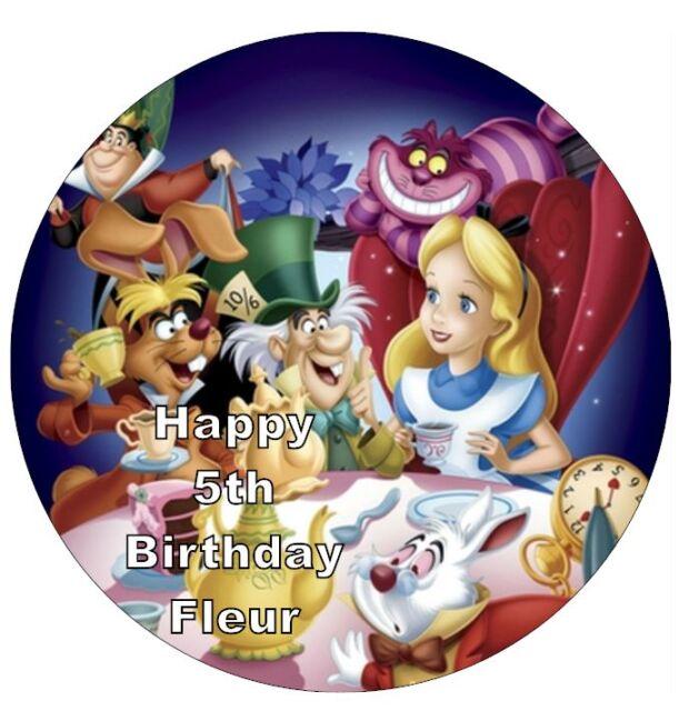 Alice In Wonderland Disney Personalised Cake Topper 7 5 Edible