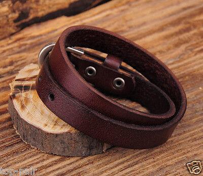 Handmade Vintage Cool Single Band Surfer Leather Bracelet Wristband Cuff V01