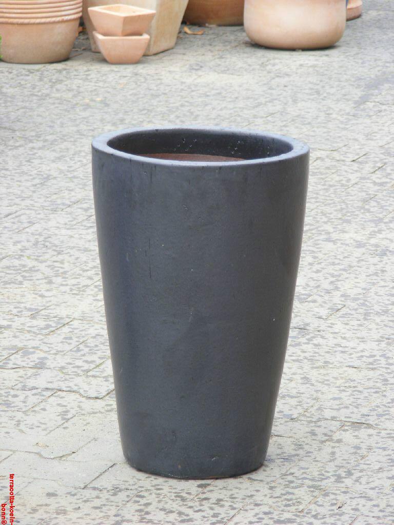 Blaumentopf dickwandig, glasiert matt schwarz 58 cm anthrazit edel Frostfest