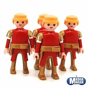 playmobil® 4 x Grundfigur: Ritter rot   gold mit goldenem Lendengürtel Set