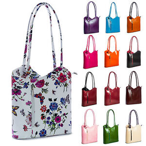 New-Genuine-Italian-Leather-Shoulder-or-Backpack-Cross-Strap-Womens-Handbag