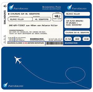 50 Einladungskarten zum Geburtstag - Flugticket Ticket Party Fest ...