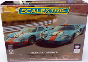 Scalextric-1-32-Scale-C4041AF-Ford-GT40-6-amp-7-1969-Gulf-Twin-Pack