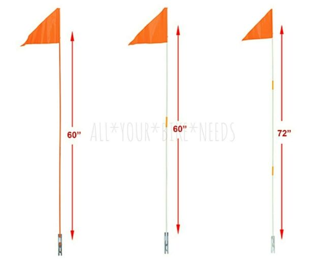 """Safety Orange 2 Piece Flag Pole 60/"""" 5 Feet Bicycle Axle Mount High Visibility"""