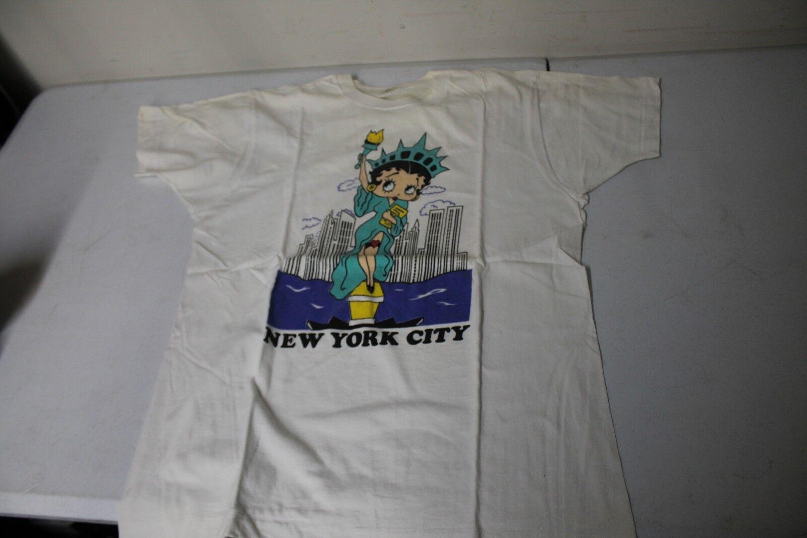 Vtg XL 1970s Betty Boop T Shirt New York Statue Of Liberty Lady 1970 Big Apple