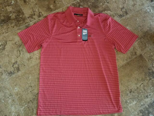 NWT Mens GREG NORMAN Short Sleeve Light Blue Striped Polo Shirt Size M Medium