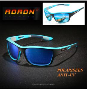 Lunettes de soleil polarisées de marque AORON UV400 EFFET MIROIRE Couleur Bleue