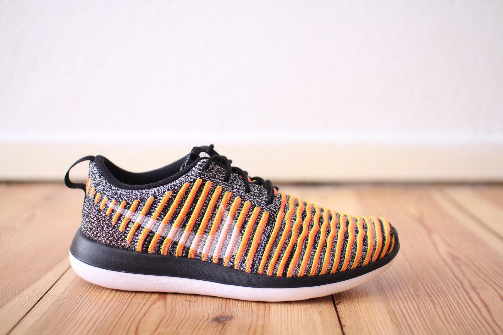 Nike Roshe Run Two Flyknit WMNS Schwarz Orange Weiß Gr. 38,39 NEU & OVP One