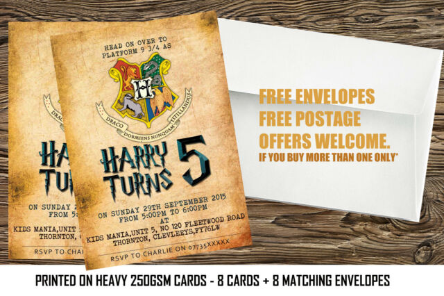 Personalised Harry Potter Birthday Party Invitations 8 Cards With Any Nameage