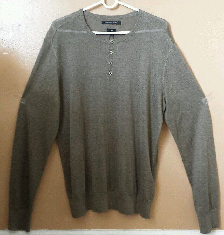 JOHN VARVATOS Man's Long Sleeve 59% Lines 41% Viscose T-shirt Sz Large NWT 228