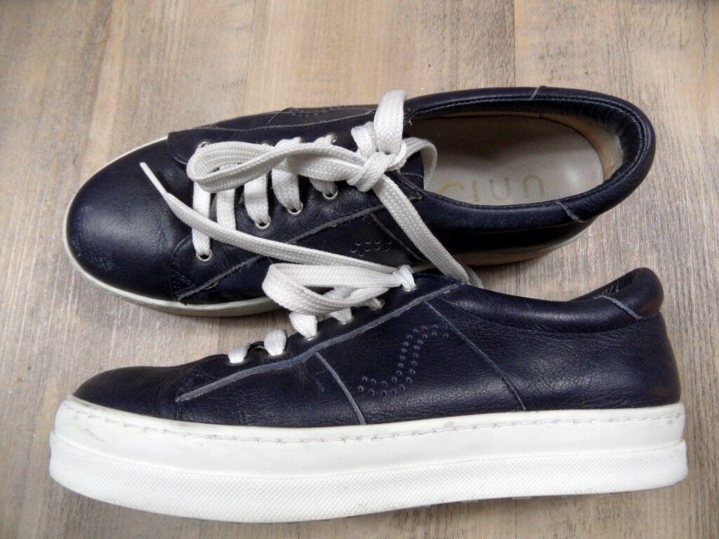 UNISA schöne Leder Sneakers blue Gr. 37 TOP ZC1217