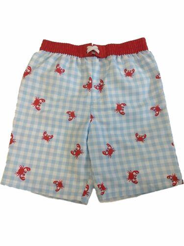 Toddler Boys Blue /& White Checkered Swim Trunks Crab Board Shorts