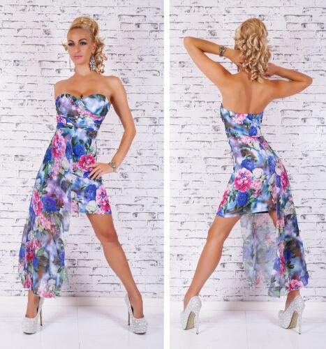 Damen Mini Kleid Bandeau seitliche Schleppe Cocktail Party Sommer Strand Blumen