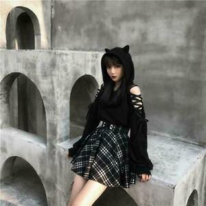 Kawaii Clothing Gothic Punk Cat Hoodie Black Sweatshirt Harajuku Ulzzang Lace Up
