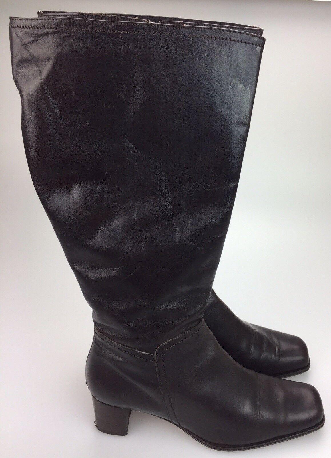 Eddie Bauer Riding Boots Women's 11 M Made  Soft Brown Leather Zip Knee