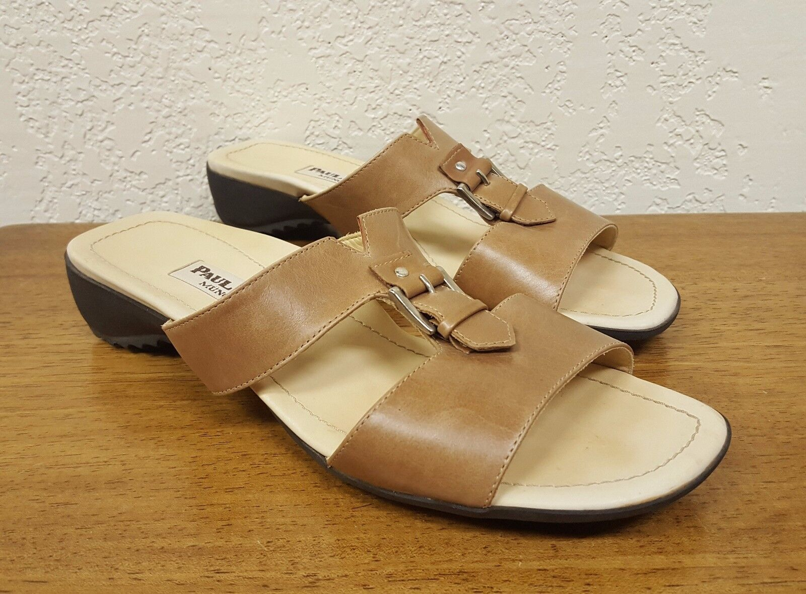 Women's Paul Green Munchen Brown Leather Slide Sandal Size - 5.5 Austria - 7 US