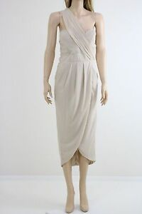 TFNC-Women-039-s-Nude-One-Shoulder-Pencil-Dress-With-Wrap-Skirt-And-UK-SIZE-12